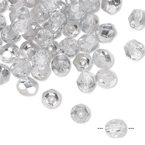 Bead, Czech Fire-polished Glass, Opaque Transparent Crystal Half-coated Silver, 6mm Faceted Round. Sold Per Pkg 65