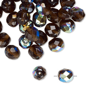 """16"""" golden brown Czech Fire Polished Round Faceted Glass Beads in Topaz color"""