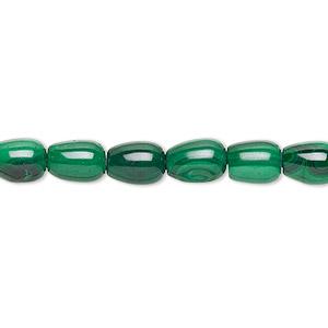 Bead, Malachite (natural), 7x5mm Barrel, B Grade, Mohs Hardness 3-1/2 4. Sold Per 16-inch Strand