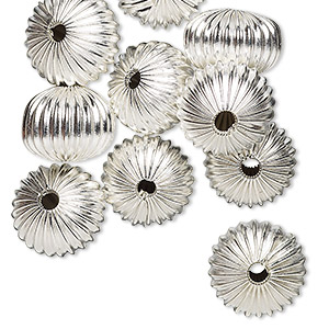 "Bead, Silver-plated ""pewter"" (zinc-based Alloy), 13x10mm Hollow Corrugated Rondelle 2.5mm Hole. Sold Per Pkg 10"