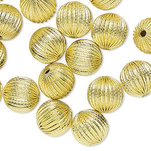 Beads Raw Brass Corrugated Beads 14-16mm