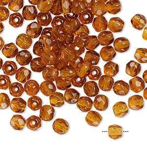 100 Topaz Faceted Czech Glass Round Beads 4MM