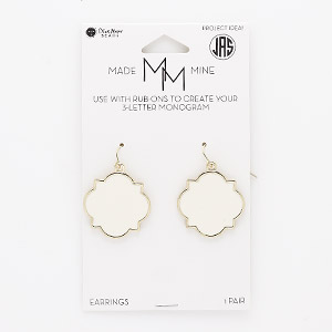 Fishhook Earrings Enameled Metals Beige / Cream