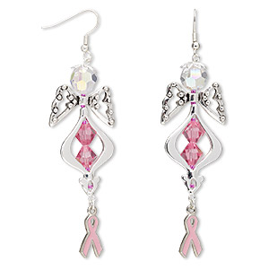38d2778ed Earrings, One of a Kind Jewelry, Swarovski® crystals / enamel / antique  silver-plated pewter (tin-based alloy), pink, 3-1/2 inches with fishhook  earwire.