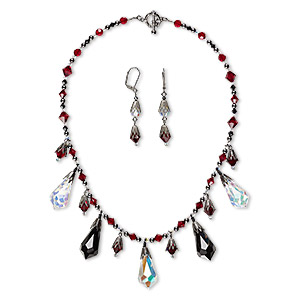 Dark Silver Black and Multi Colored Crystal Necklace Set