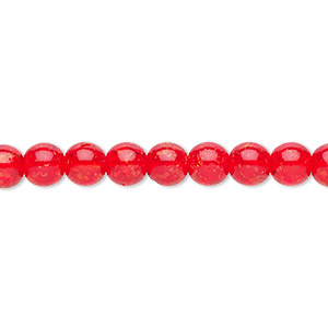 Lot of 50 Beads Cracked Glass 6mm Red