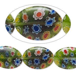 Beads Millefiori Greens