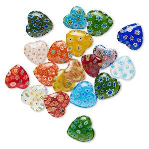 B4856 Black Bone Floral Millefiori Glass Heart 8x10mm Beads Qty 16