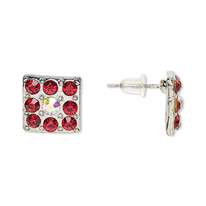 Earstud Earrings Silver Plated/Finished Reds