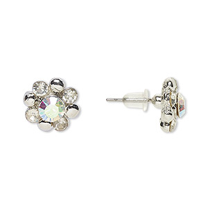 Earstud Earrings Silver Plated/Finished Clear