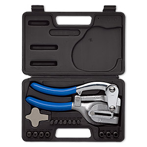 pliers, hole punch, steel and plastic, blue and black, 8-1/2 x 4 inch with 7 changeable die and 7 changeable punches, 9 x 5-3/4 inch storage case. sold per set.