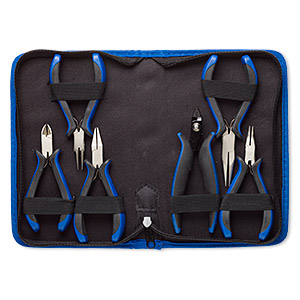 pliers set, curved chain-nose / chain-nose / round-nose / flat-nose / side-cutter / crimp, plastic / polyester / nickel-plated steel, black and blue, 4-1/2 to 5-1/2 inches with 8-1/2 x 5-1/4 x 1-1/2 inch case. sold per 6-piece set.