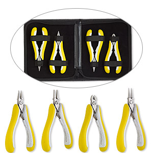 pliers set, lindstrom ex series, flush-cutters / flat-nose / round-nose / chain-nose, stainless steel / rubber / plastic, yellow and grey, 5 to 5-3/4 inches. sold per 4-piece set.