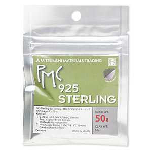 pmc sterling precious metal clay, high strength sterling silver. sold per 50-gram pkg.