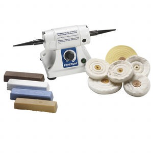 polisher set, foredom bench lathe, compact variable-speed polisher for buffing and polishing metals with supplies, approximately 13 x 5-1/8 x 5/16 inch. sold per set.