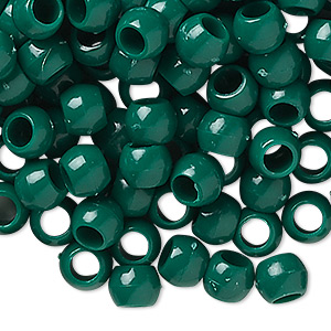 pony bead, plastic, opaque dark green, 7x5mm-7x6mm with 3.5mm hole. sold per pkg of 1,000.