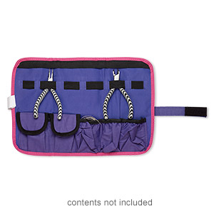 pouch, canvas / elastic / velcro, pink / purple / black, 14x9-1/2 inches with hook and loop closure with wraparound strap. sold individually.