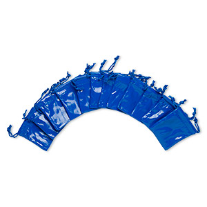 pouch, faux leather / nylon / cotton, royal blue, 2-1/4 x 1-3/4 to 2-1/2 x 2-inch rectangle with drawstring. sold per pkg of 12.