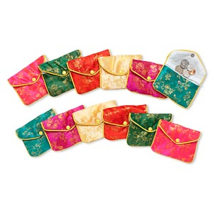 pouch mix, rayon, mixed colors, 3-1/2 x 4-1/2 inch brocade. sold per pkg of 12.