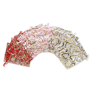 pouch, organza, assorted colors, 4-1/2 x 3 inches with heart pattern and drawstring. sold per pkg of 12.