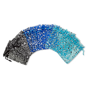 pouch, organza, assorted colors, 4-1/2 x 3 inches with star pattern and drawstring. sold per pkg of 12.