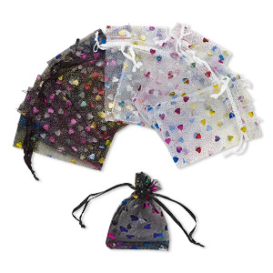 pouch, organza, black / white / multicolored, 4 x 2-1/2 inches with heart pattern and drawstring. sold per pkg of 12.