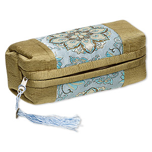 pouch, polyester / nylon / brass-finished pewter (zinc-based alloy), green / blue / multicolored, 7 x 3 x 3-inch rectangle with flower design / coin replica / tassel, zipper closure. sold individually.