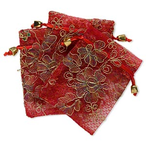 pouch, polyester and plastic, red/gold/multicolored, 4-3/4 x 3-3/4 inches with sequins and stitched design. sold per pkg of 3.