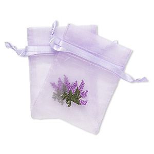 pouch, satin and organza, purple and green, 4x3-inch rectangle with embroidered lavender and drawstring closure. sold per pkg of 2.