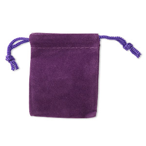 pouch, velveteen and cotton, purple, 2-1/2 x 2-inch square with drawstring closure. sold per pkg of 25.