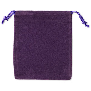 pouch, velveteen and cotton, purple, 4x3-inch rectangle with drawstring closure. sold per pkg of 25.
