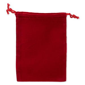 pouch, velveteen and cotton, red, 5-1/2 x 4-inch rectangle with drawstring closure. sold per pkg of 25.