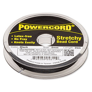 powercord, elastic, black, 0.5mm, 4-pound test. sold per 25-meter spool.