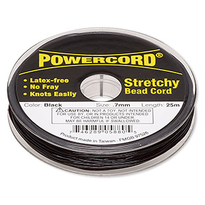 powercord, elastic, black, 0.7mm, 7-pound test. sold per 25-meter spool.