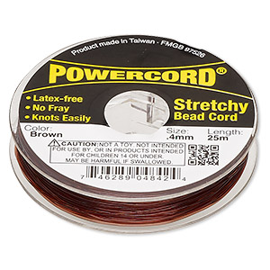 powercord, elastic, brown, 0.4mm, 3.5-pound test. sold per 25-meter spool.
