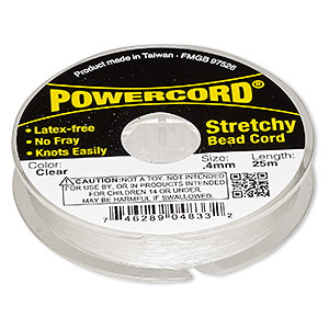 powercord, elastic, clear, 0.4mm, 3.5 pound test. sold per 25-meter spool.