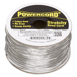powercord, elastic, clear, 2mm, 21.5 pound test. sold per 25-meter spool.