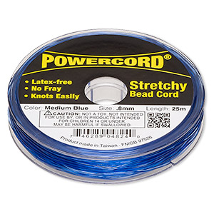 powercord, elastic, medium blue, 0.8mm, 8.5-pound test. sold per 25-meter spool.