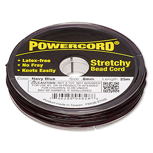 powercord, elastic, navy blue, 0.8mm, 8.5-pound test. sold per 25-meter spool.