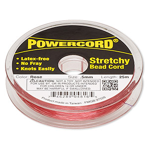 powercord, elastic, rose, 0.5mm, 4-pound test. sold per 25-meter spool.