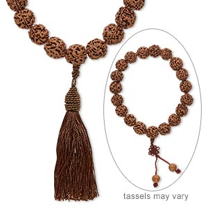prayer bead, rudraksha seed (natural), 18mm round, 13 inches. sold individually.