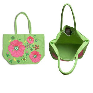 purse, canvas, multicolored, 21 x 15 x 8 inches with flower design and 26-inch strap. sold individually.