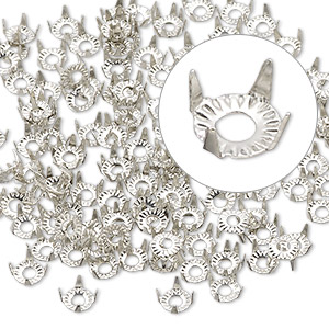 rhinestone setting, silver-finished steel, 5x2.5mm 4-prong round, fits 4mm rhinestone. sold per pkg of 135.