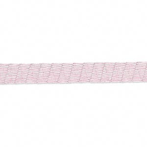 ribbon, brass, metallic pink, 1/5 inch tubular mesh, fits up to 12mm bead. sold per pkg of 1 meter.