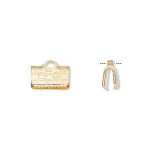 ribbon crimp end, gold-plated brass, 10x6mm textured rectangle. sold per pkg of 10.
