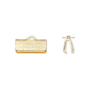 ribbon crimp end, gold-plated brass, 13x6mm textured rectangle. sold per pkg of 10.