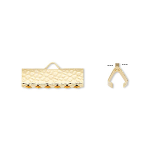 ribbon crimp end, gold-plated brass, 16x5mm hammered rectangle. sold per pkg of 10.