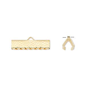 ribbon crimp end, gold-plated brass, 20x5mm hammered rectangle. sold per pkg of 10.
