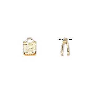 ribbon crimp end, gold-plated brass, 5x5mm textured square. sold per pkg of 10.