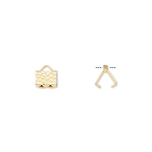 ribbon crimp end, gold-plated brass, 6x5mm hammered rectangle. sold per pkg of 100.